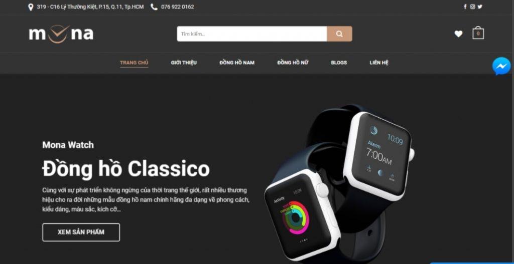 thiết kế website giới thiệu sản phẩm đồng hồ