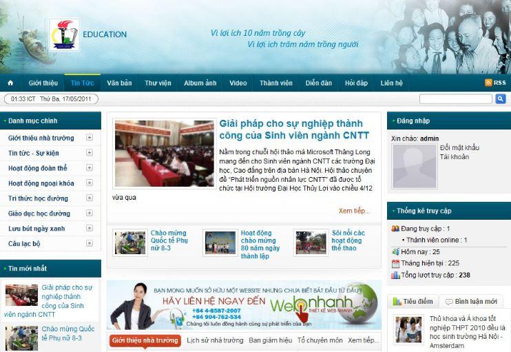 Thiết kế website trường học - giáo dục