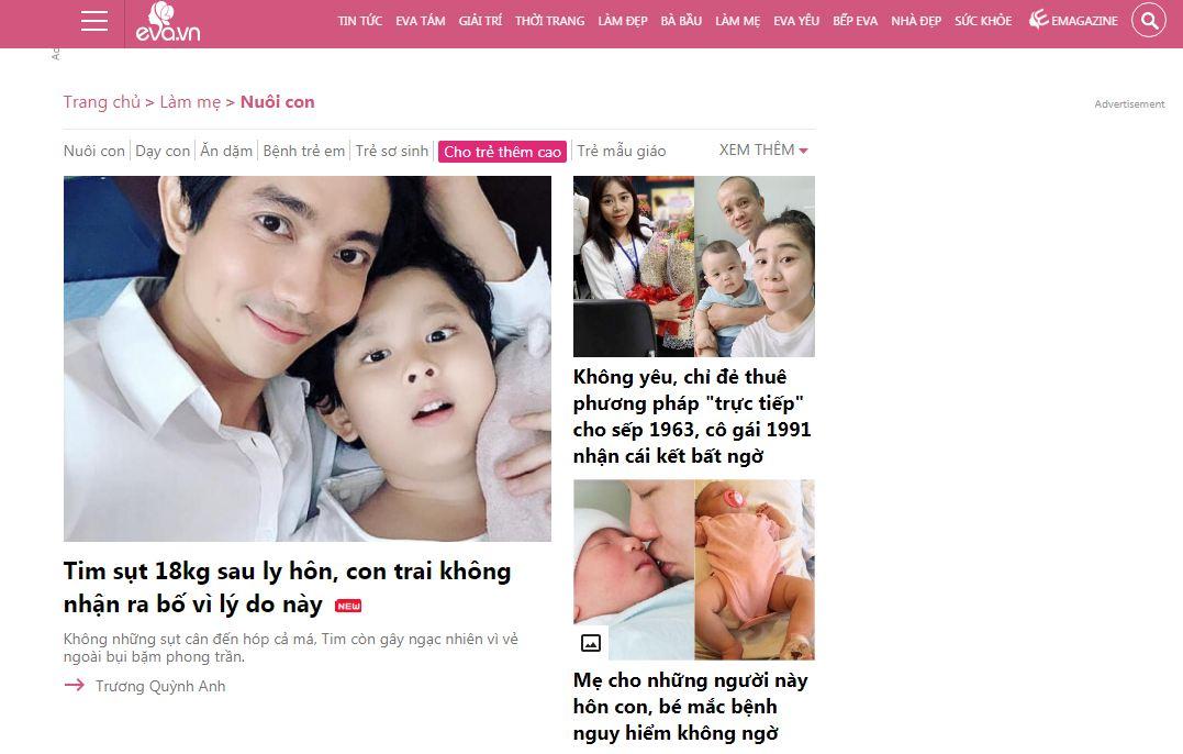 Eva - website mẹ và bé