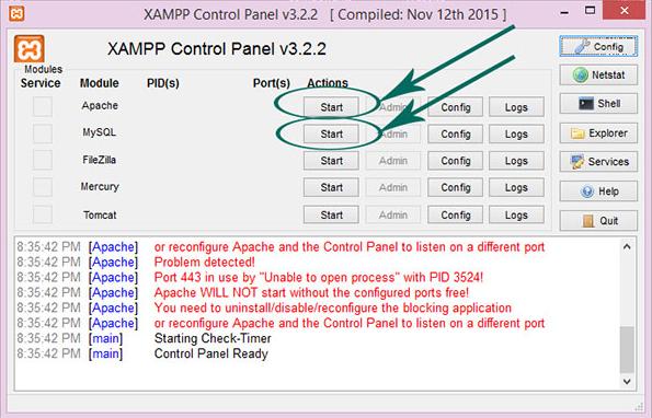 Khởi động một số module trong Xampp.