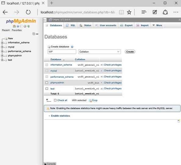 Bắt đầu tạo database trên localhost.