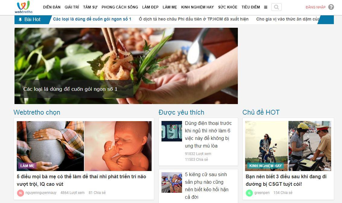 Webtretho - website mẹ và bé