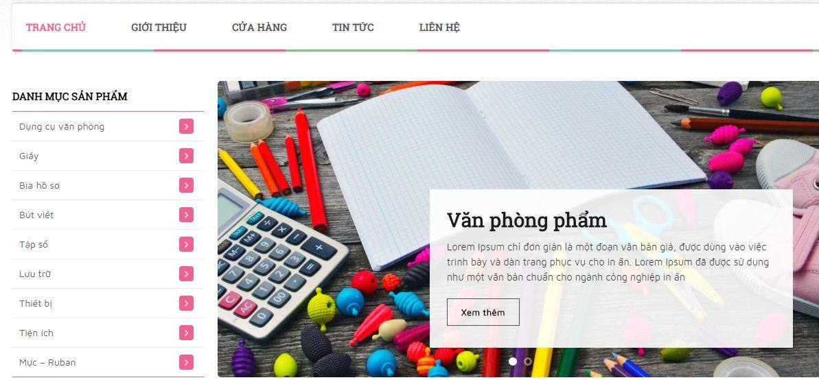 Xây dựng website bán văn phòng phẩm