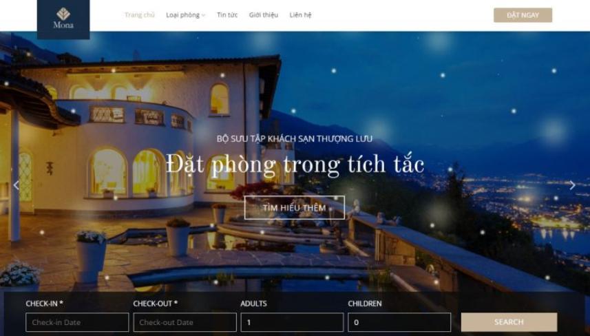 Mẫu website dịch vụ khách sạn giống luxe