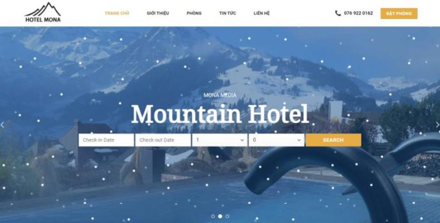 Mẫu giao diện website khách sạn giống mountain
