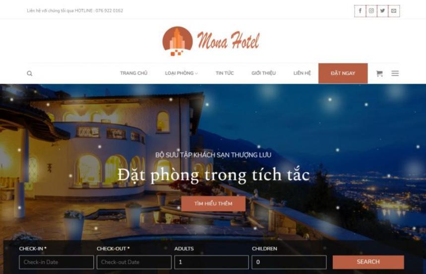Mẫu website dịch vụ khách sạn giống swing four